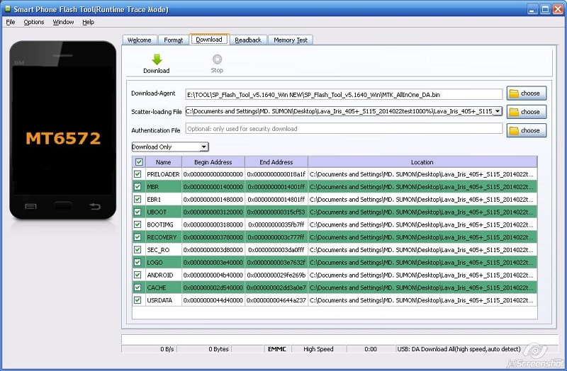 use SP flash tool to flash android