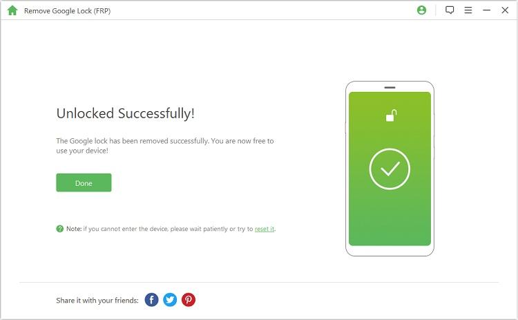 unlock google frp lock successfully
