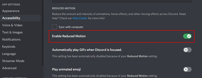 enable reduced motion discord