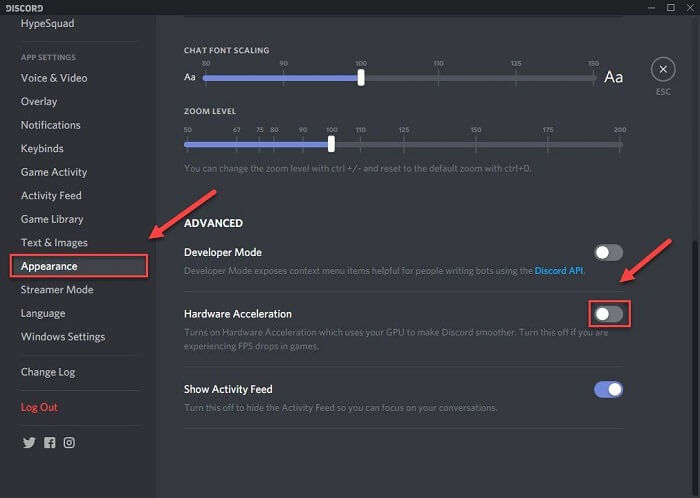 turn off hardware acceleration discord