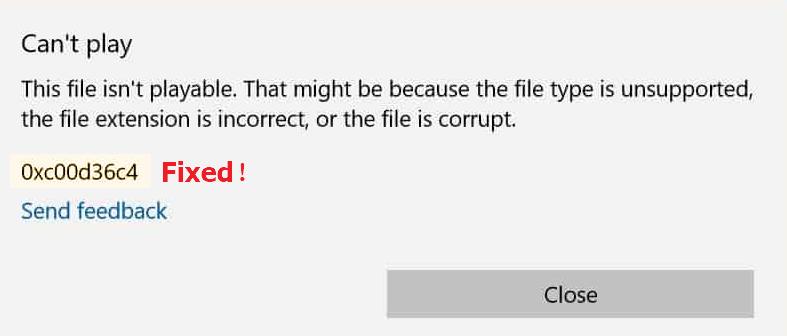 0xc00d36c4 error