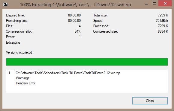 zip file headers error