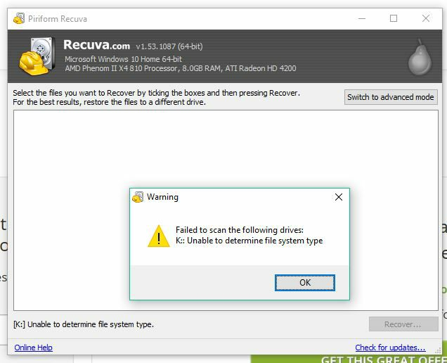 Recuva Failed to Scan the Following Drives