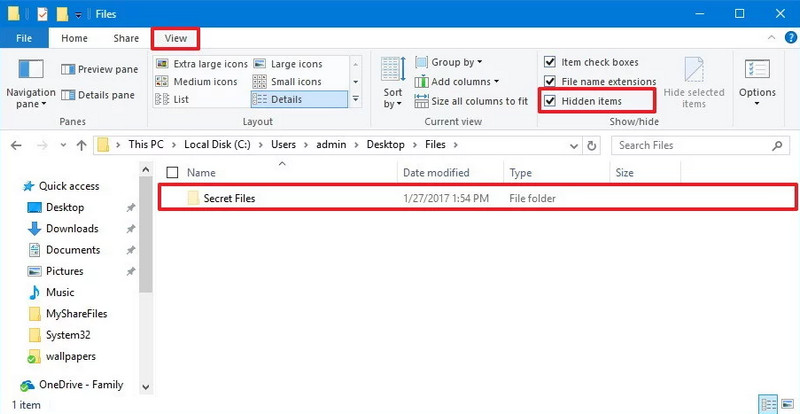 Windows 10 show hidden files from File Explorer