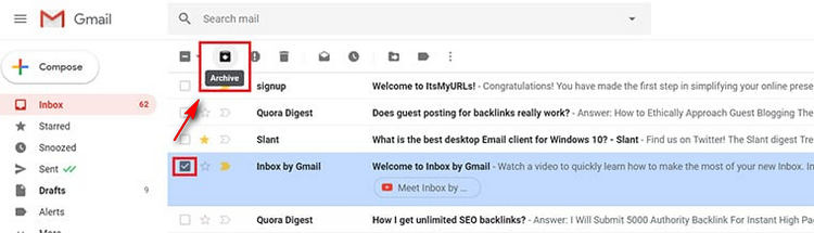 Archive message in Gmail