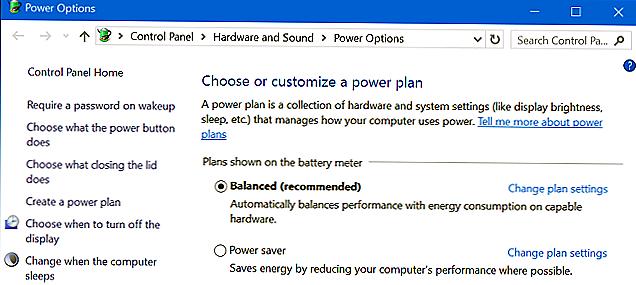 balanced power settings