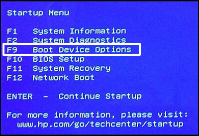 boot device options