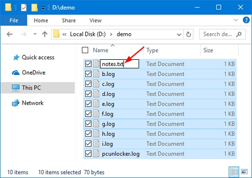 change file extension by renaming