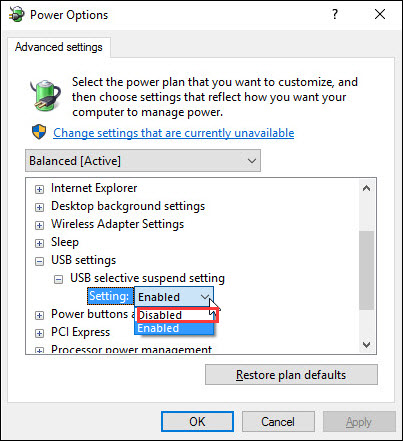disable on battery and plugged in settings