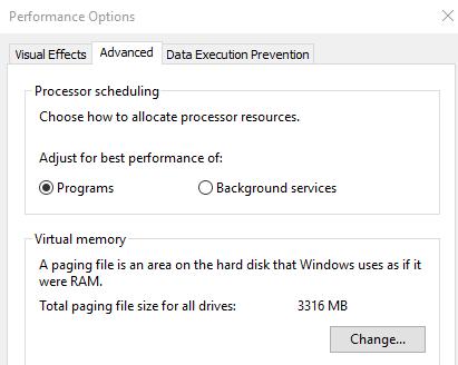 change virual memory windows