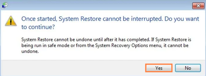 confirm the system restore