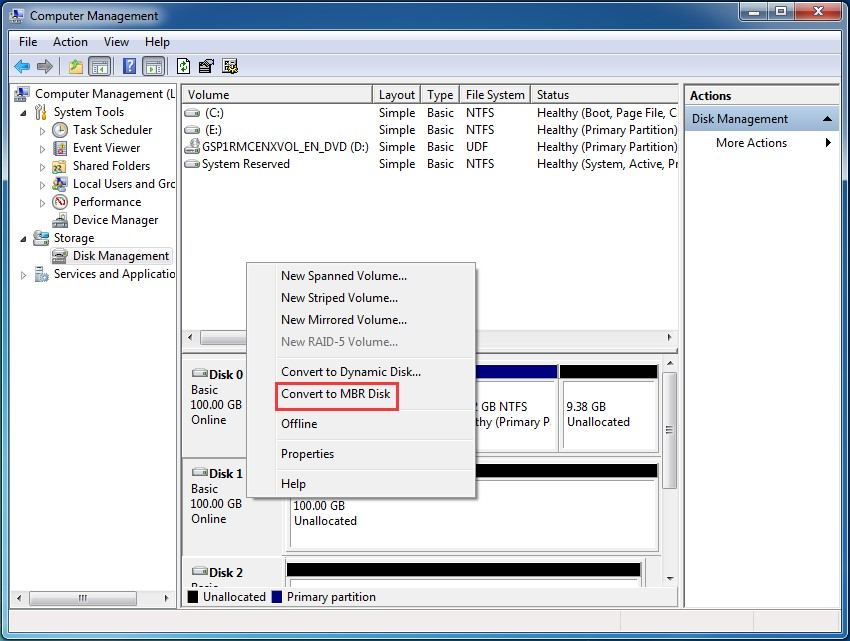 convert to mbr with disk management