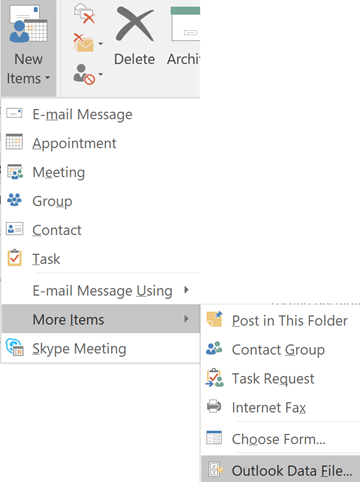create-new-item-outlook