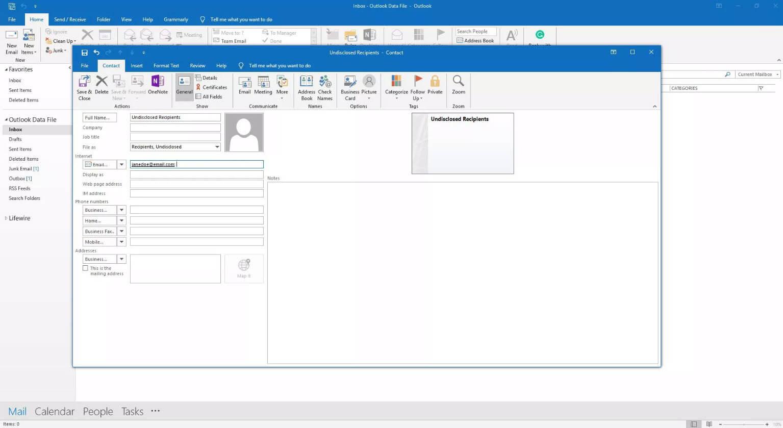 input email address