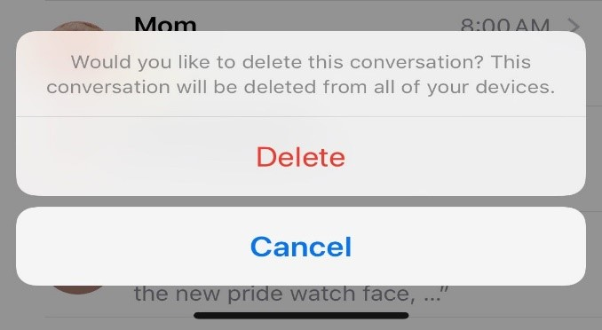 delete messages iPhone