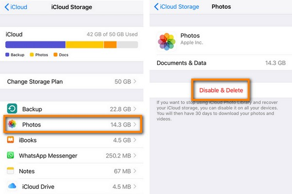 disable photo library backups