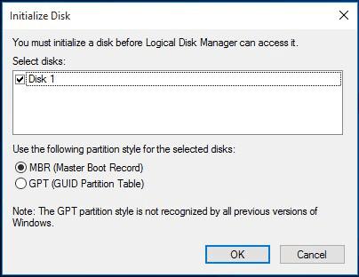 disk management initialize disk