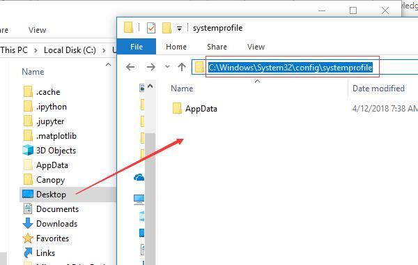 drag desktop to systemprofile