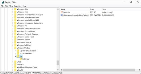edit the converged update stack file in regit