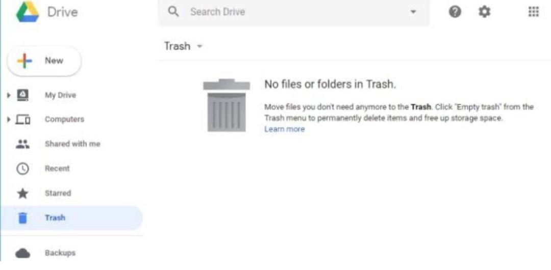 empty trash on google photos android