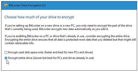 how much of the drive to encrypt