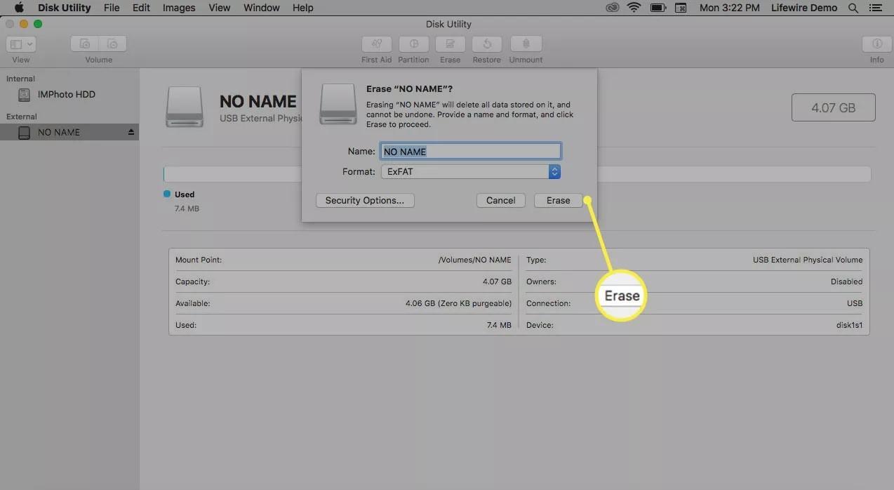 erase camera sd card on mac