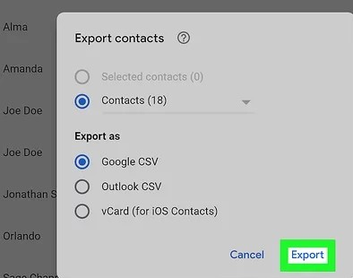 export goolge contacts