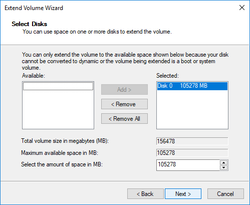 extend c drive in disk management