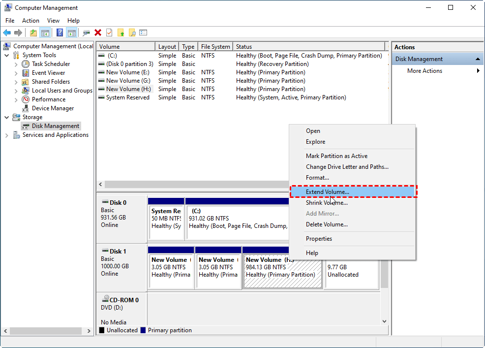 extend voulme by Disk Management
