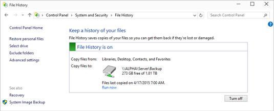 file history is turned on