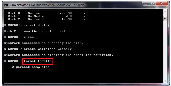 format a hard disk with cmd