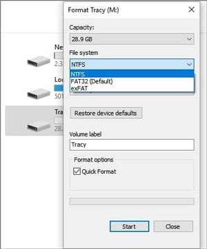 how to format SD card on pc