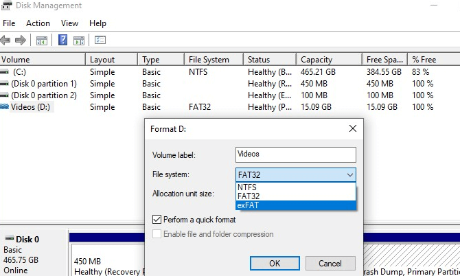format raw sd card with disk management
