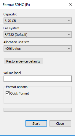 format raw sd card with file explorer