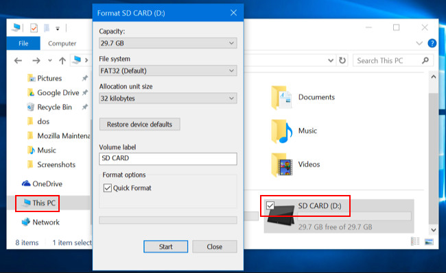 Format SD card with Windows File Explorer