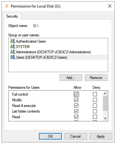 allow permission for local disk