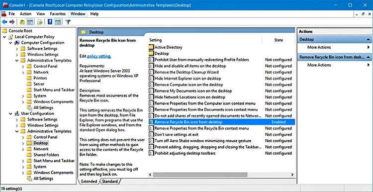 hide recycle bin in group policy