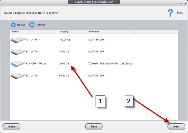 step of using icare data recovery