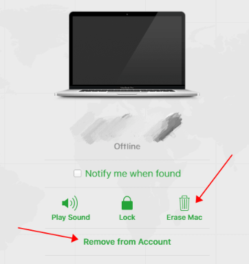 erase Mac and remove from account