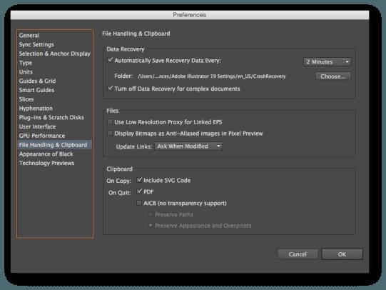 Turn on Illustrator Autosave
