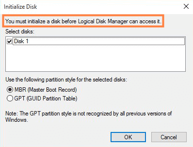 initialize a disk