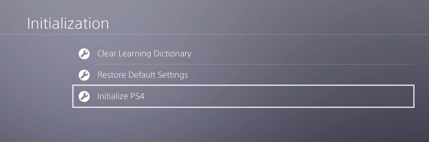 initialize ps4 settings