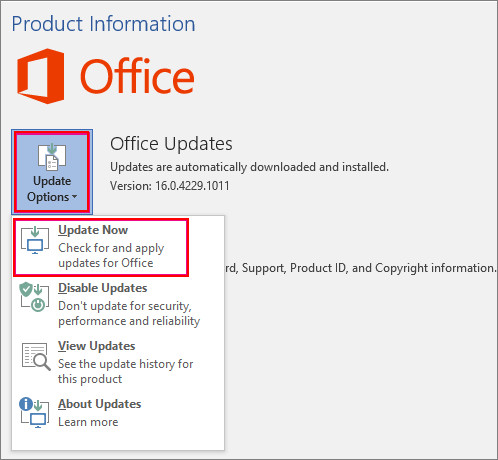 Install latest Office update