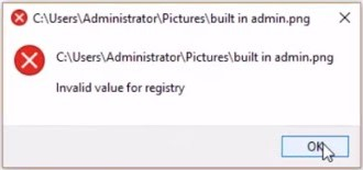 invalid value for registry