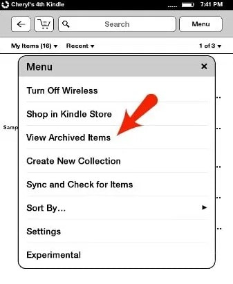 kindle view archived items