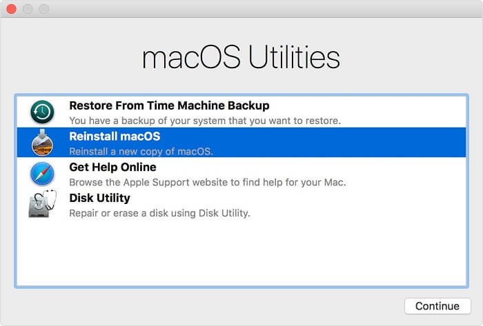enter macOS recovery to restore files