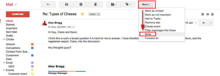Mute message in Gmail