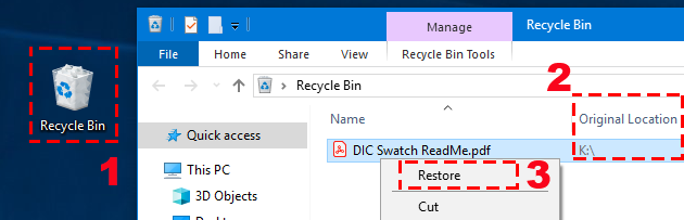 recover deleted PDF file from recycle bin