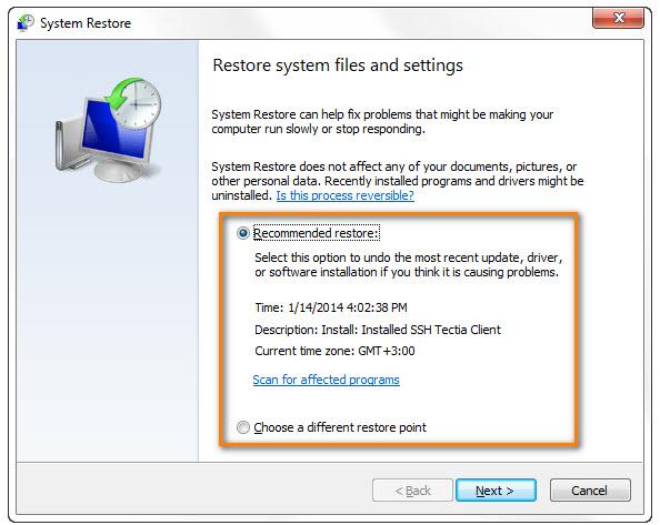 system restore point undelete profile