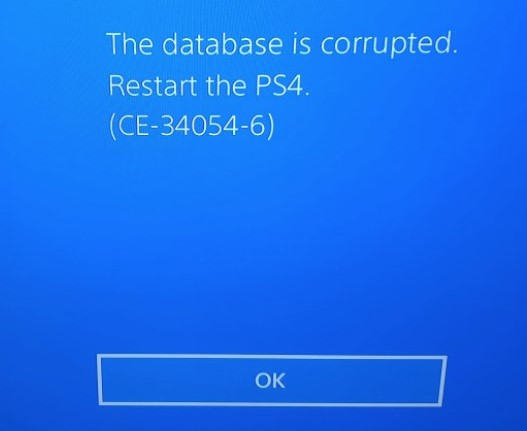 ps4 database corrupted